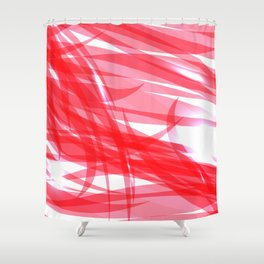 Red and smooth sparkling lines of pink ribbons on the theme of space and abstraction. Shower Curtain