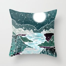 pond in the moon light  Throw Pillow