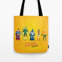 justice league Tote Bags featuring Justice League of America - Pixel Nostalgia by Boo! Studio