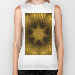 Golden Amber Metalic Abstract Star #Kaleidoscope Biker Tank