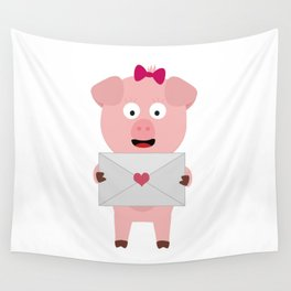 Female Pig with Loveletter Wall Tapestry