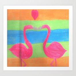 Pink Flamingo Mural Art Art Print