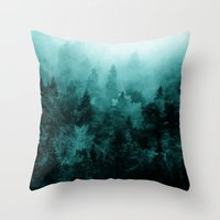 blankets Throw Pillows featuring Fractal Forest by Klara Acel