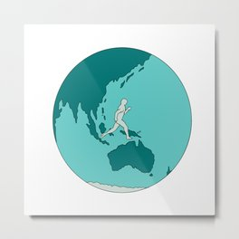 Marathon Runner Around World Drawing Metal Print