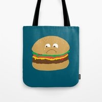 hamburger Tote Bags featuring Sad Hamburger by Chris Piascik
