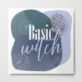 Witchy Puns - Basic Witch Metal Print