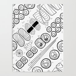 Sushi Coloring Poster