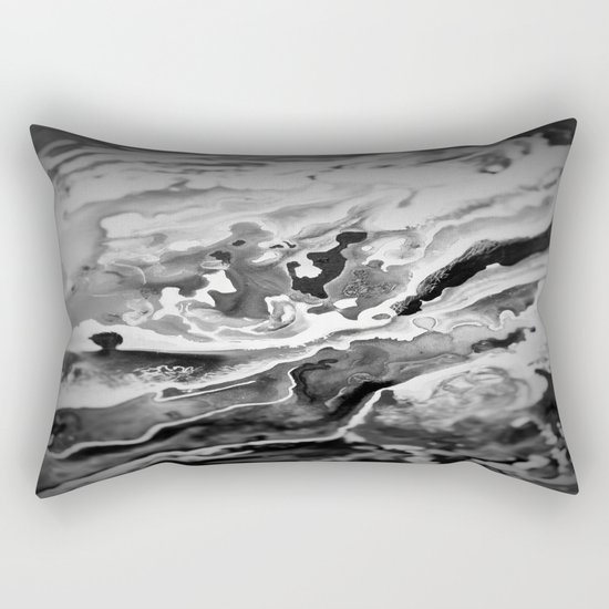 Deep Sea Black Focus Marble Rectangular Pillow
