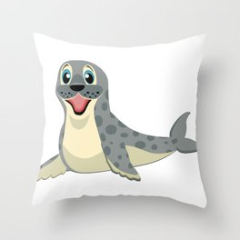 Smiling Baby Seal Throw Pillow