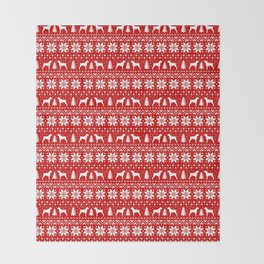 Boxer Dog Silhouettes Christmas Sweater Pattern Throw Blanket