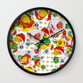Canal Flowers Chaos pattern Wall Clock