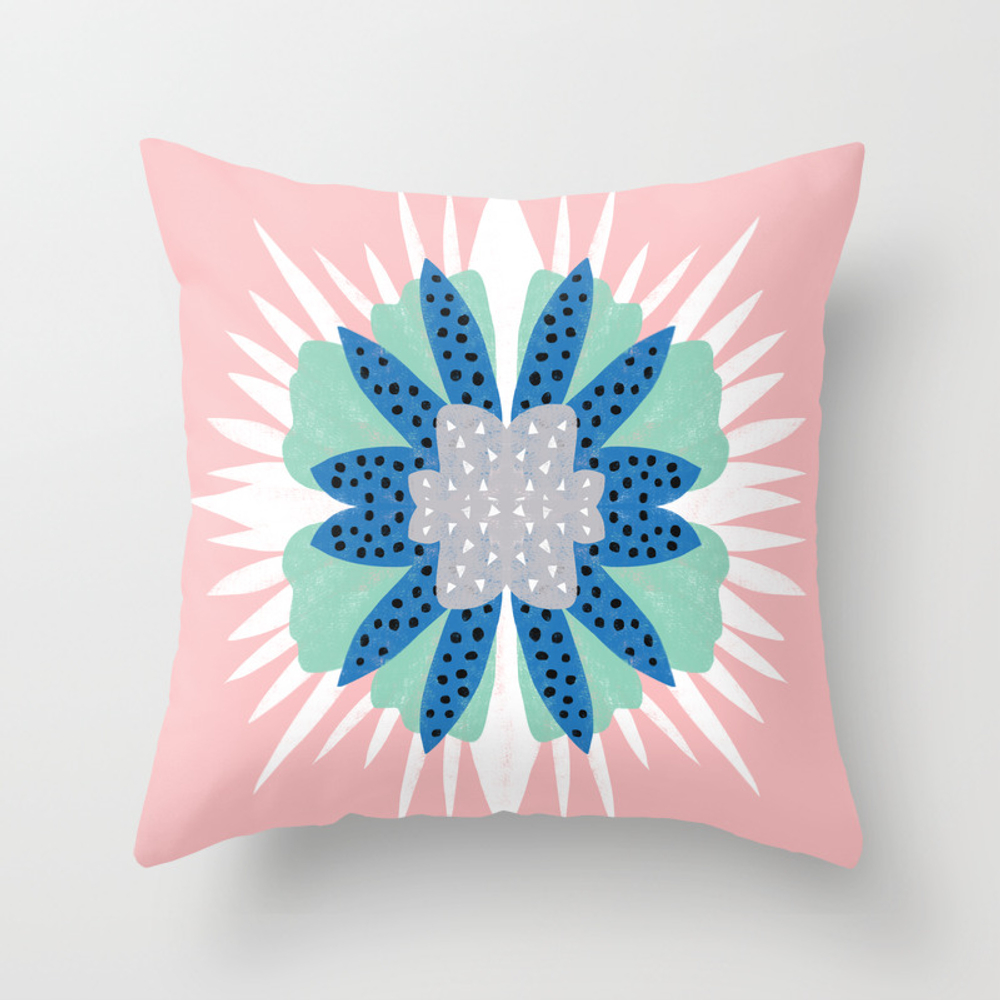 Big Flower Turquoise & Dark Blue Throw Pillow by Graphicsco PLW8861362
