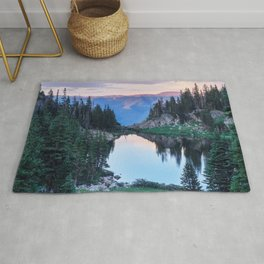 Hikers Bliss Perfect Scenic Nature View \ Mountain Lake Sunset Beautiful Backpacking Landscape Photo Rug