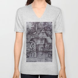 a boiler house in the forest with a stream. Unisex V-Neck