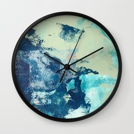 Letting Go: an abstract mixed-media piece in blues and greens by Alyssa Hamilton Art Wall Clock