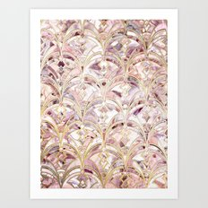 Dusty Rose and Coral Art Deco Marbling Pattern Art Print