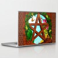 pagan Laptop & iPad Skins featuring Oasis Pagan Folk Art by BohemianBound
