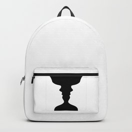 Two faces side by side- illusion of a vase also called Rubins vase Backpack