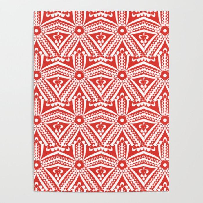 Red Starfish Art Deco' Ellegant Poster