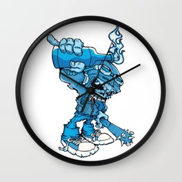 Anarchy Skeleton -  Iris Blue bottle fire skull Wall Clock