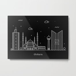 Ankara Minimalist Skyline Drawing Metal Print