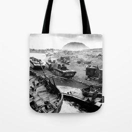 Iwo Jima Beach Painting Tote Bag