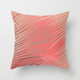 Palms Shadow on Living Coral Throw Pillow