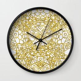 Golden Ornamental Mandala on White Marble Wall Clock