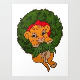 Christmas Simba Art Print