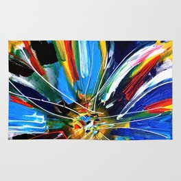 Dutch Spin - Colorful abstract painting flower Rug