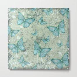 Teal Butterflies Metal Print