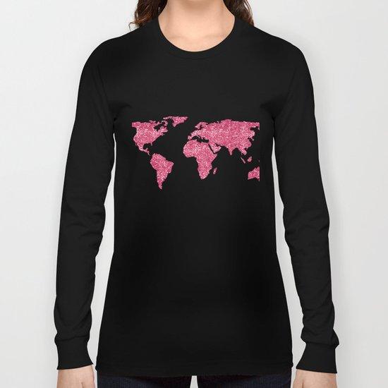 World Map Hot Pink Glitter Sparkles Long Sleeve T-shirt