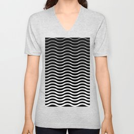 Waves Pattern, Geometric, Abstract, black and white, Unisex V-Neck