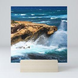 Wild Rogue Ocean Waves Crashing On Rocks Mini Art Print