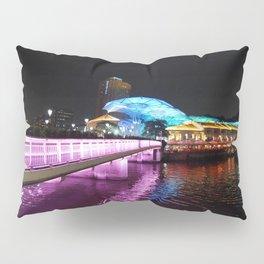 Pink Illuminated Bridge @ Clark Quay Singapore, Night Scenery. Pillow Sham