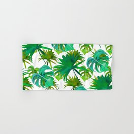 Abstract hand painted forest green watercolor tropical leaves Hand & Bath Towel