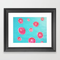 Pink flowers in blue Framed Art Print