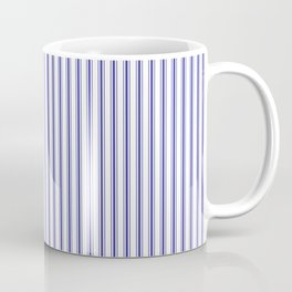 Navy Blue on White Mattress Ticking Stripes Coffee Mug