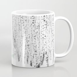 Green bench in white winter forest Coffee Mug