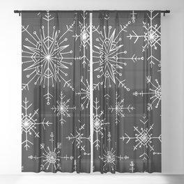 Winter Wonderland Snowflakes Black and White Sheer Curtain