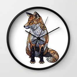 Stained Glass Fox Wall Clock