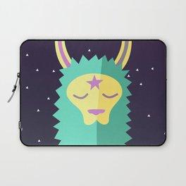 Yacana: The Space Llama Head (Cyan) Laptop Sleeve