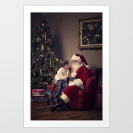 A Real Santa Claus sitting in a living room with a young boy sitting on his lap Art Print
