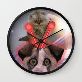 Laser Cat vs. Space Dog Wall Clock