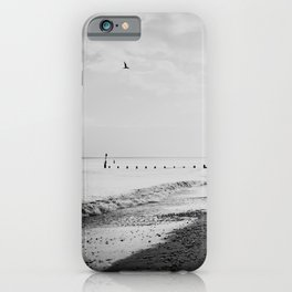 black and white Southwold beach photograph iPhone Case