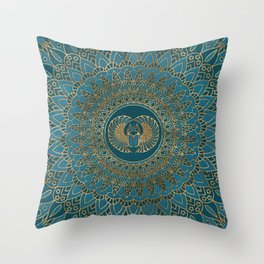 Egyptian Scarab Beetle Gold on Teal Leather Throw Pillow