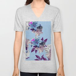 LILY SILVER BLUE AND PURPLE WITH WHITE HYDRANGEAS Unisex V-Neck