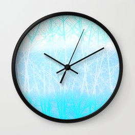 Frosted Winter Branches in Misty Blue Wall Clock