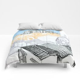 Tokyo landscape Comforters