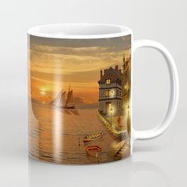 Nostalgic Harbor In The Sunset Coffee Mug